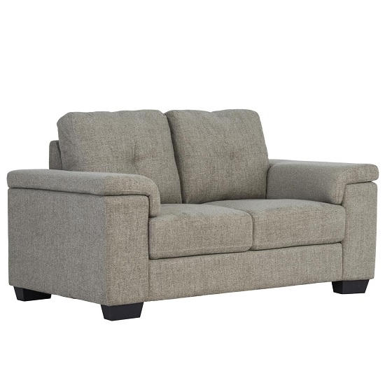 Lyra Fabric 2 Seater Sofa In Oatmeal With Wooden Feet