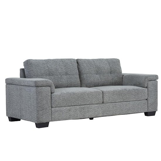 Lyra Fabric 3 Seater Sofa In Grey With Wooden Feet