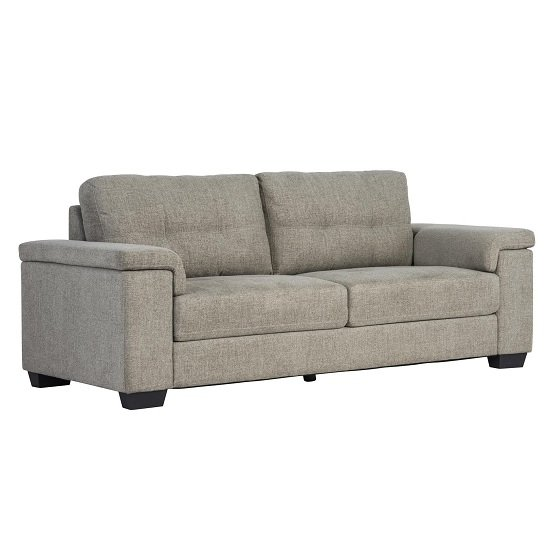 Lyra Fabric 3 Seater Sofa In Oatmeal With Wooden Feet