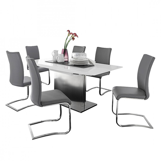 Helio Extendable Glass Dining Table With 6 Arco Grey Chairs