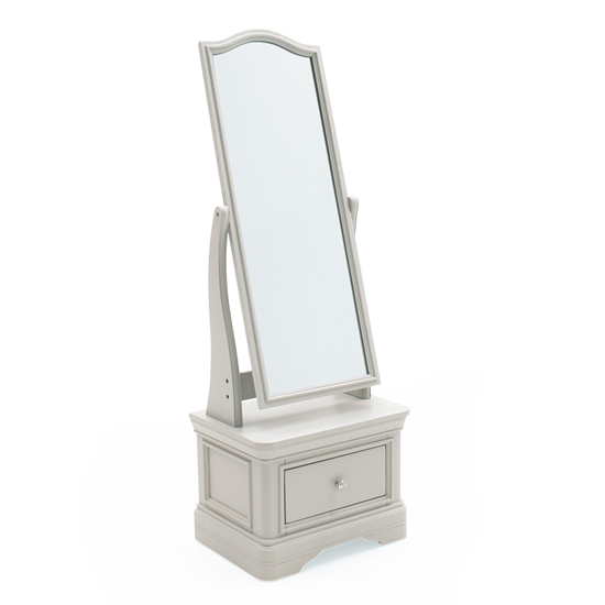 Mabel Cheval Mirror With Taupe Storage Cabinet