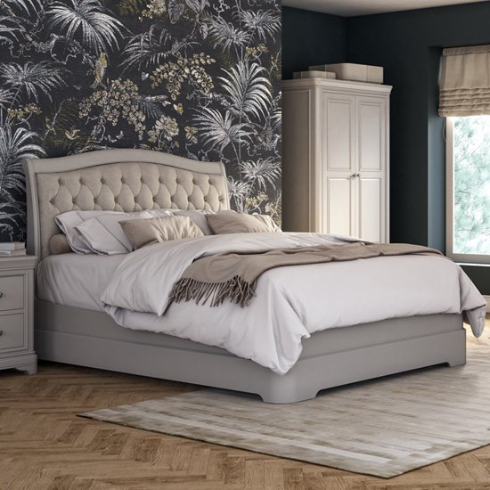 Mabel Fabric Upholstered Double Bed In Taupe