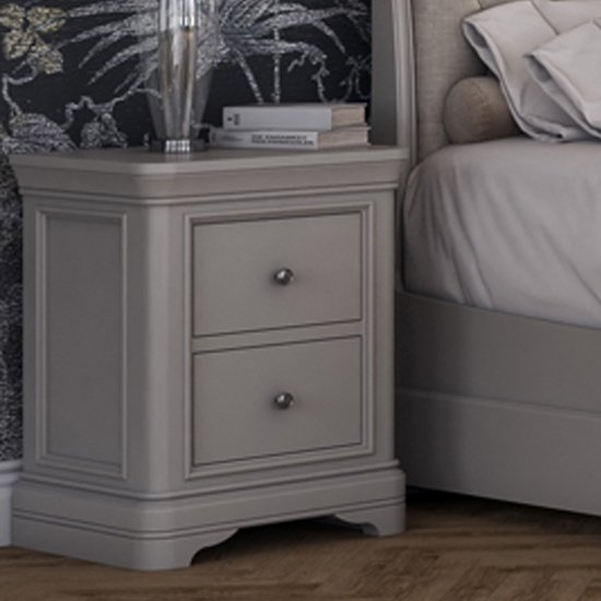 Mabel Wooden Bedside Table In Taupe
