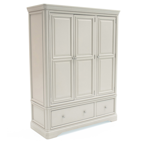 Mabel Wooden Wardrobe In Taupe With 3 Doors And 2 Drawers