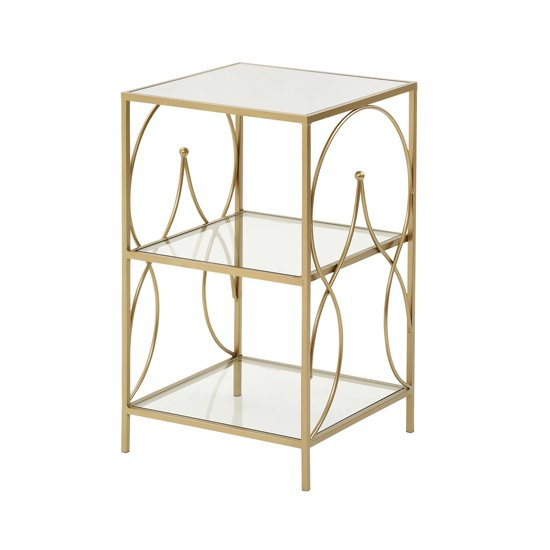 Product photograph showing Maci Glass Side Table With Antique Gold Metal Frame
