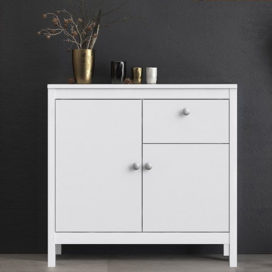 Macron Wooden Sideboard In White With 2 Doors And 1 Drawer
