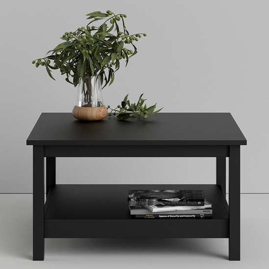 View Macron wooden square coffee table in matt black