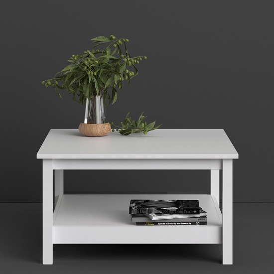 View Macron wooden square coffee table in white