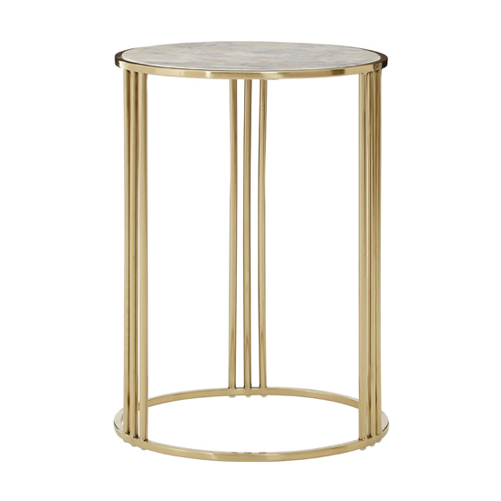 Gudja Round Side Table In Gold      _1