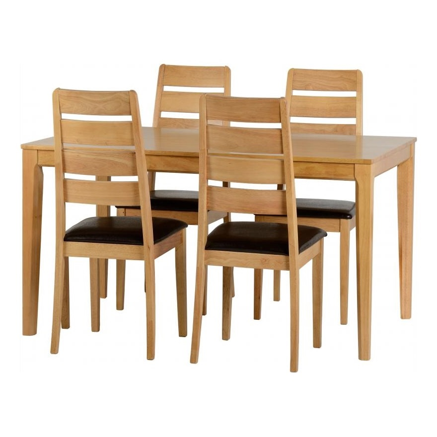 Macy Wooden Dining Table In Oak Effect With Four Dining Chairs