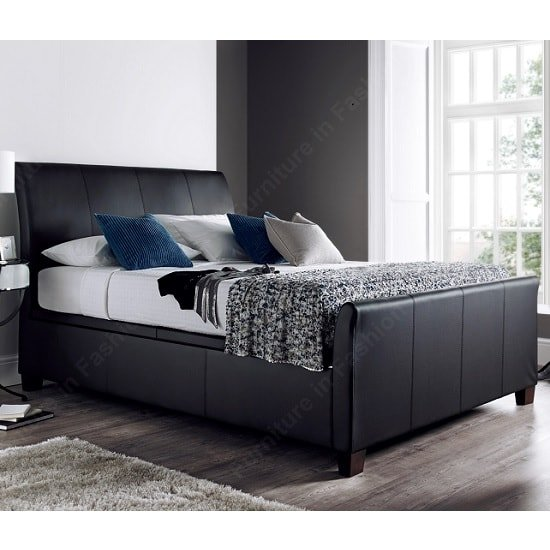 Madea ottoman storage double bed in black bonded leather - All in one double bed ...