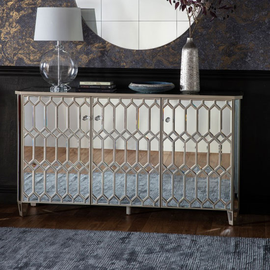 Madehurst Mirrored Sideboard In Clear With 3 Doors_1