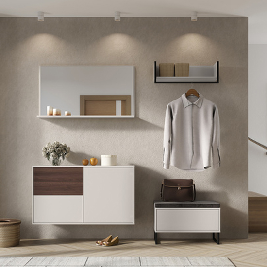 Madeo Shoe Storage Cabinet In Cashmere And Walnut_3