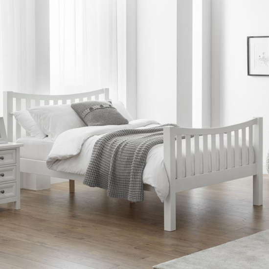 Madison Curved High Foot End Double Bed In Surf White