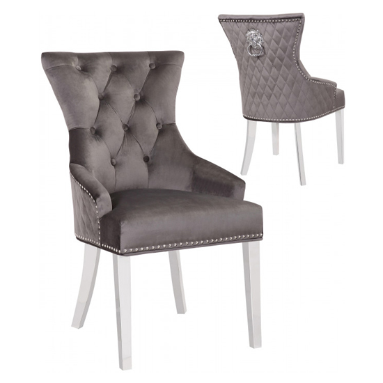 Madison Grey Velvet Dining Chairs In Pair
