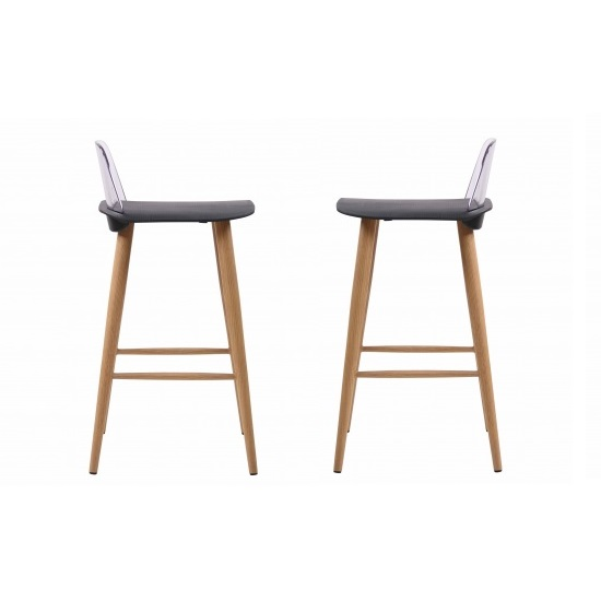 Madisson Black Bar Stool With Oak Look Metal Legs In A Pair