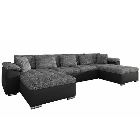 Madlen Corner Sofa Bed In Grey And Black With Chrome Base