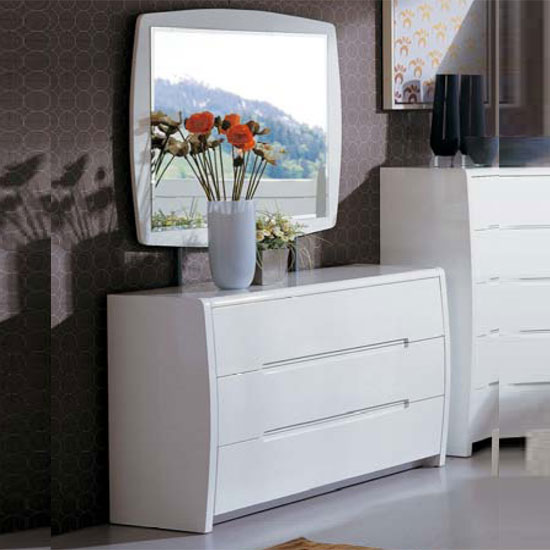 Madrid 3 Drawer White High Gloss Dresser With Mirror Buy