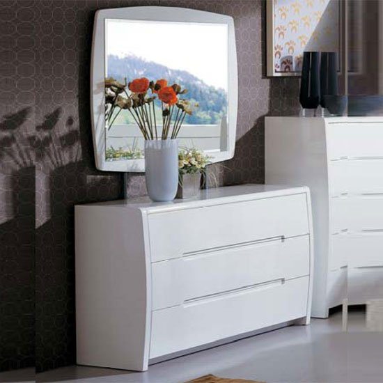 Madrid 3 Drawer White High Gloss Dresser With Mirror