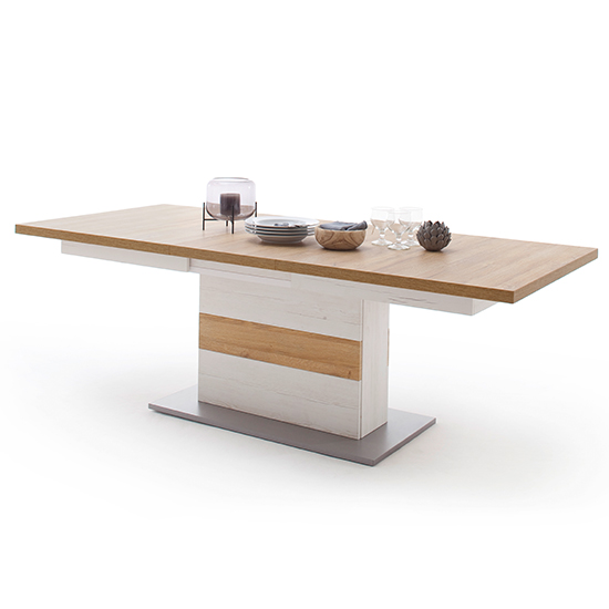 Madrid Extending Wooden Dining Table In White And Grandson Oak