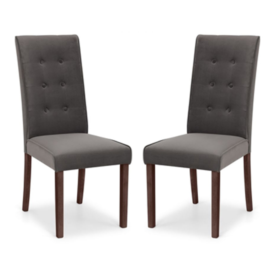 Madrid Grey Velvet Dining Chair In Pair