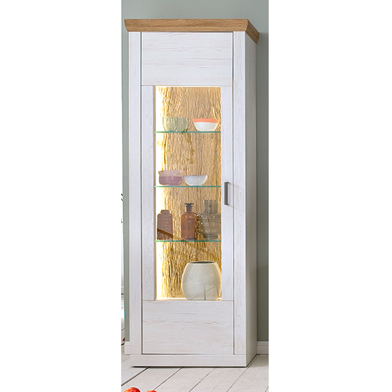 Madrid LED 1 Door Display Cabinet In White And Grandson Oak