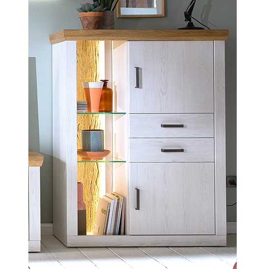 Madrid LED 2 Doors 2 Drawers Highboard In White And Grandson Oak