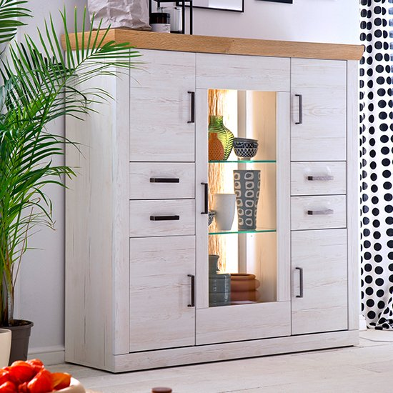 Madrid LED 5 Doors 4 Drawers Highboard In White And Grandson Oak