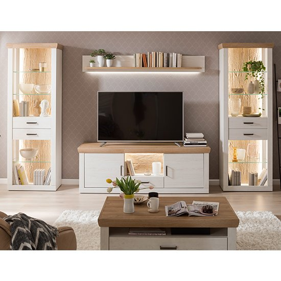 Madrid LED Living Room Furniture Set 3 In White And Grandson Oak
