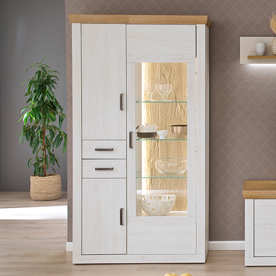 Madrid LED Wooden Display Cabinet In White And Grandson Oak
