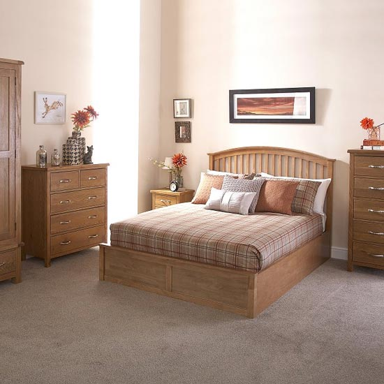 Madrid Ottoman Wooden King Size Bed In Natural Oak