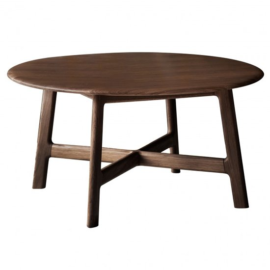 View Madrid round wooden coffee table in walnut