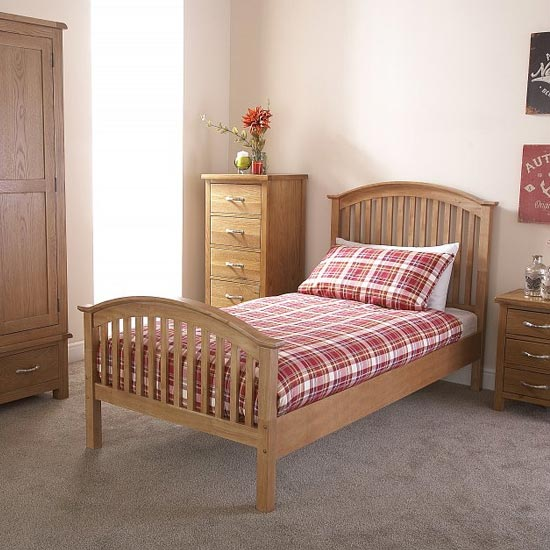 Madrid Rubberwood Single Bed In Natural Oak