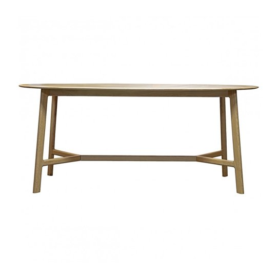 Madrid Wooden Curved Edge Oval Dining Table In Oak
