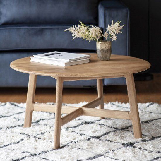 Madrid Wooden Round Coffee Table In Oak