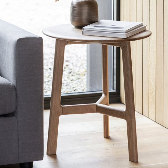 Madrid Wooden Round Side Table In Oak
