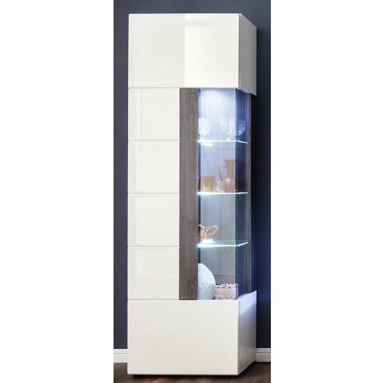 Madsen Display Cabinet Narrow In White High Gloss Fronts And LED