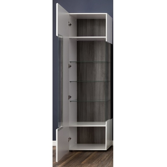 Madsen Display Cabinet Narrow In White High Gloss Fronts And LED_2