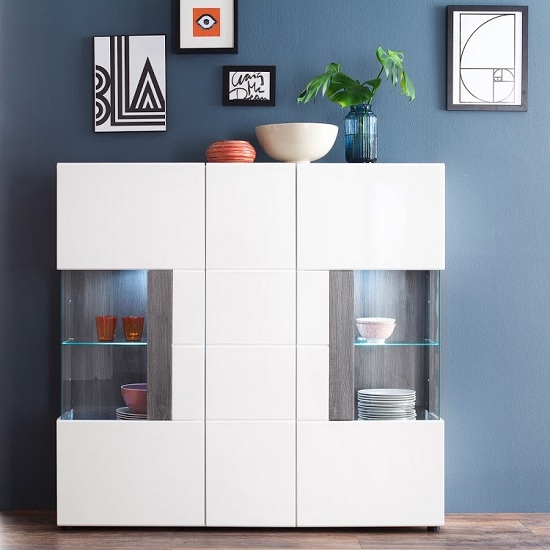 Madsen Modern Highboard In White With High Gloss Fronts And LED