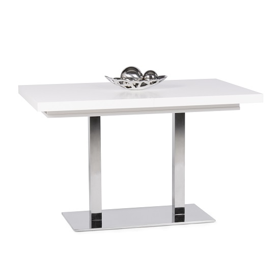 View Madsen wooden extending dining table rectangular in white