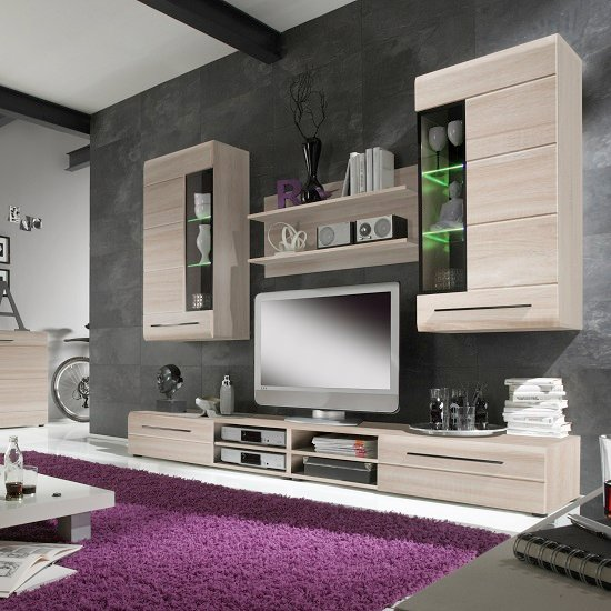 Madsen living room set 1 in sonoma oak with led lighting - White gloss living room furniture sets ...