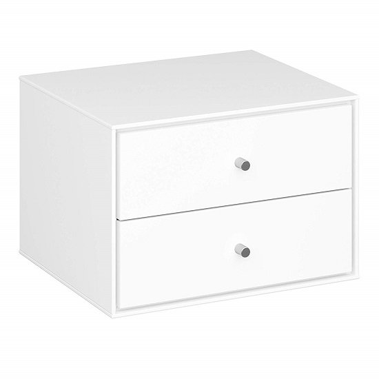 Maga Wall Mount Bedside Cabinet In White With 2 Drawers