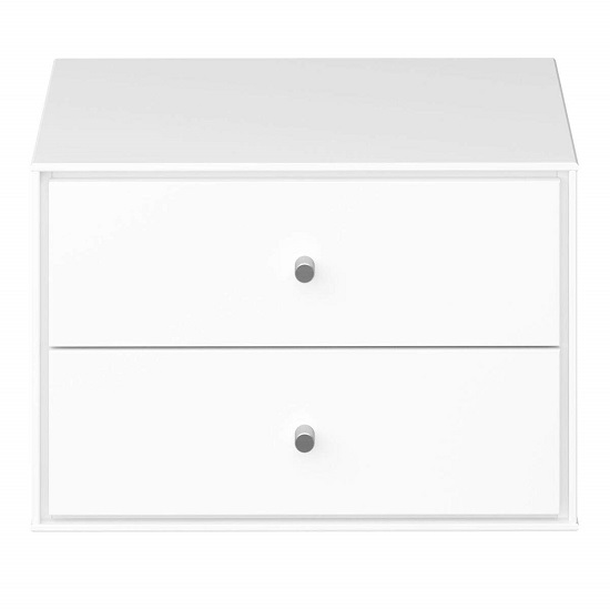 Maga Wall Mount Bedside Cabinet In White With 2 Drawers_2