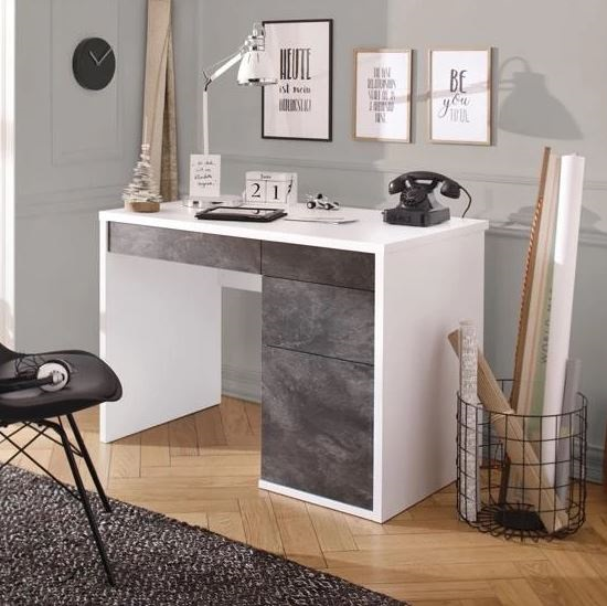 Magallon Wooden Computer Desk In Slate Grey And White