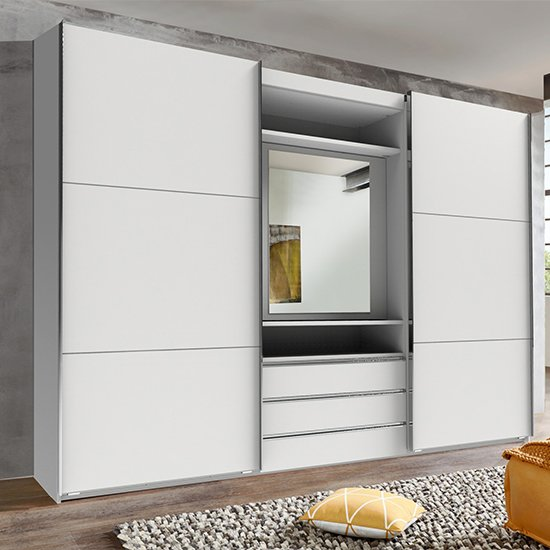 View Magic mirrored sliding door wardrobe in white with tv shelf