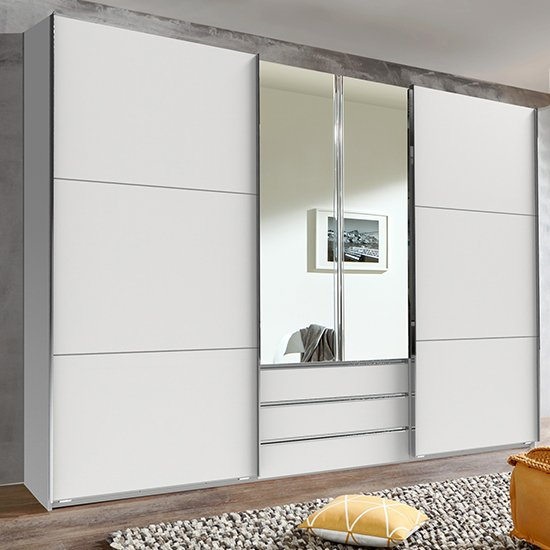 View Magic mirrored wooden sliding door wardrobe in white