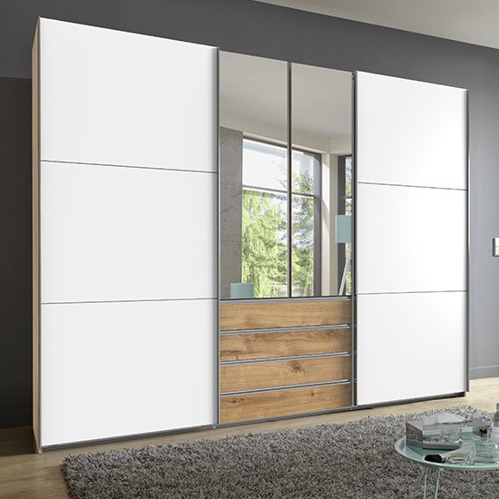 Magic Mirrored Wooden Sliding Door Wide Wardrobe In Planked Oak