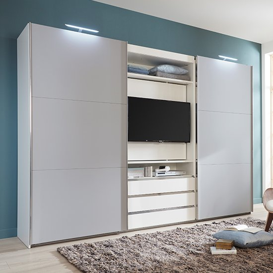 View Magic sliding wardrobe in white and light grey with tv shelf