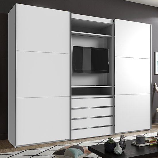 View Magic wooden sliding door wide wardrobe in white with tv shelf