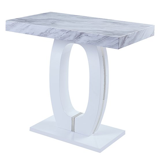 Halo High Gloss Magnesia Marble Effect Bar Table In Grey And White_2